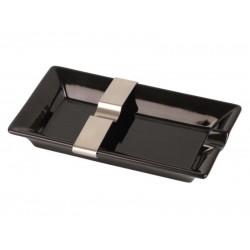 Szivar hamutál - Porcelán, fekete - fém szivartartó betéttel