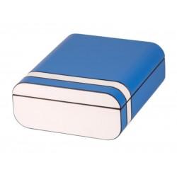 Humidor 40 szál szivar részére, cédrusfa szivar tároló doboz, párásítóval, külső hygrométerrel, kék/fehér, ovális - Passatore