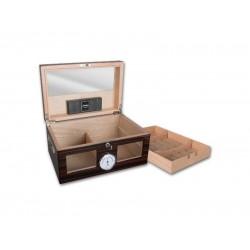 Humidor Exkluzív, 80-100 szál szivar részére, üveges, cédrus szivar tároló doboz, hygrométerrel, párásítóval - Achenty!