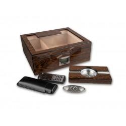 Humidor 50 szál szivar részére, üvegtetős, barna szivar tároló doboz, digitális hygrométerrel, párásítóval + AJÁNDÉK szett!