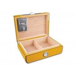 Humidor Carbon, sárga - 30 szál szivar részére, szivartartó doboz, párásítóval, külső hygrométerrel
