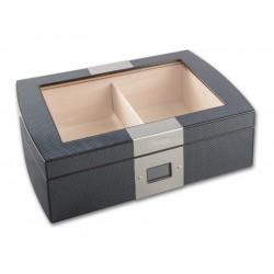 Humidor 50 szivar részére, cedrusfa, carbon fekete szivar doboz, üvegtetővel, digitális hygrometerrel - Passatore