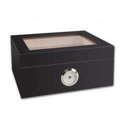 Humidor 30 szál szivar részére, cédrusfa szivar doboz, üvegtető, párásítóval, hygrométerrel - matt fekete, Achenty