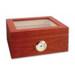 Humidor 30 szál szivar részére, cédrusfa szivar doboz, üvegtető, párásítóval, hygrométerrel - barna matt, Achenty