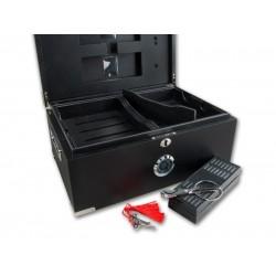 Humidor 80 szivar részére, cedrusfa, matt fekete szivar doboz, párásítóval, hygrometerrel + szivarvágó olló