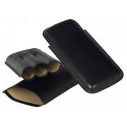 Szivartok - 3 szivar részére, fekete bőr, Robusto (15x9cm)