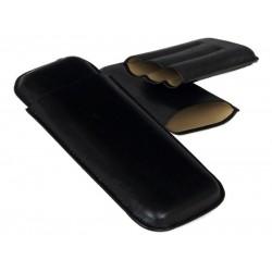 Szivartok - 3 szivar részére, fekete bőr, Double Corona (20x8,5cm)