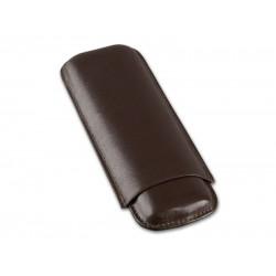 Szivartok - 2 szivar részére, barna bőr, Double Corona (20x7,5cm)