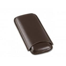 Szivartok - 2 szivar részére, barna bőr, Corona (14,5x7cm)