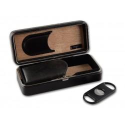 Utazó humidor - cédrusfa szivartartó doboz, fekete + szivarvágó SZETT!