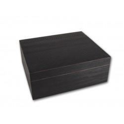 Humidor 40 szivar részére, fekete színű szivar tároló doboz, belső hygrométerrel, párásítóval - Achenty!