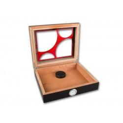 Humidor 30 szál szivar részére, cédrusfa szivar doboz, üvegtető, párásítóval, hygrométerrel - fekete, piros tetővel