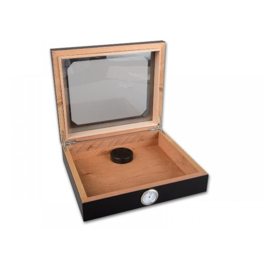 Humidor 30 szál szivar részére, cédrusfa szivar doboz, üvegtető, párásítóval, hygrométerrel - Carbon, fekete