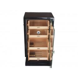 Humidorszekrény - szivar tároló, 250 szál szivarnak, cédrusfa belső, üveg ajtó - fekete
