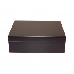 Humidor 25 szál szivar részére, cédrusfa szivartartó doboz, párásítóval, hygrométerrel - fekete