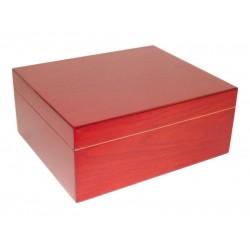 Humidor 40 szál szivar részére, cédrusfa szivartartó doboz, párásító, hygrométer - cherry