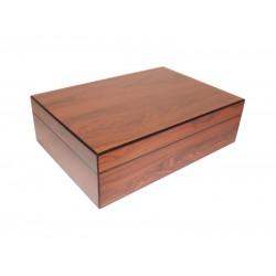 Humidor 30 szál szivar részére, cédrusfa szivar tároló doboz párásítóval és hygrométerrel + szivarvágó ollóval - diófa borítású