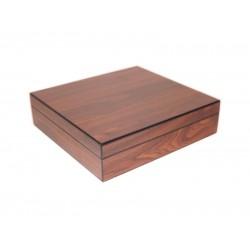 Humidor 20 szál szivar részére, cédrusfa szivar tároló doboz, párásítóval, hygrométerrel - diófa borítással