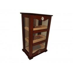 Igazi NAGY! szivar tároló humidor szekrény 150 szál szivarnak, cédrusfa belső, körbe üveges, párásító, hygrométer