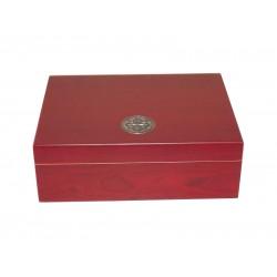 Humidor 20 szál szivar részére, cédrusfa szivardoboz, párásítóval és hygrométerrel - cherry