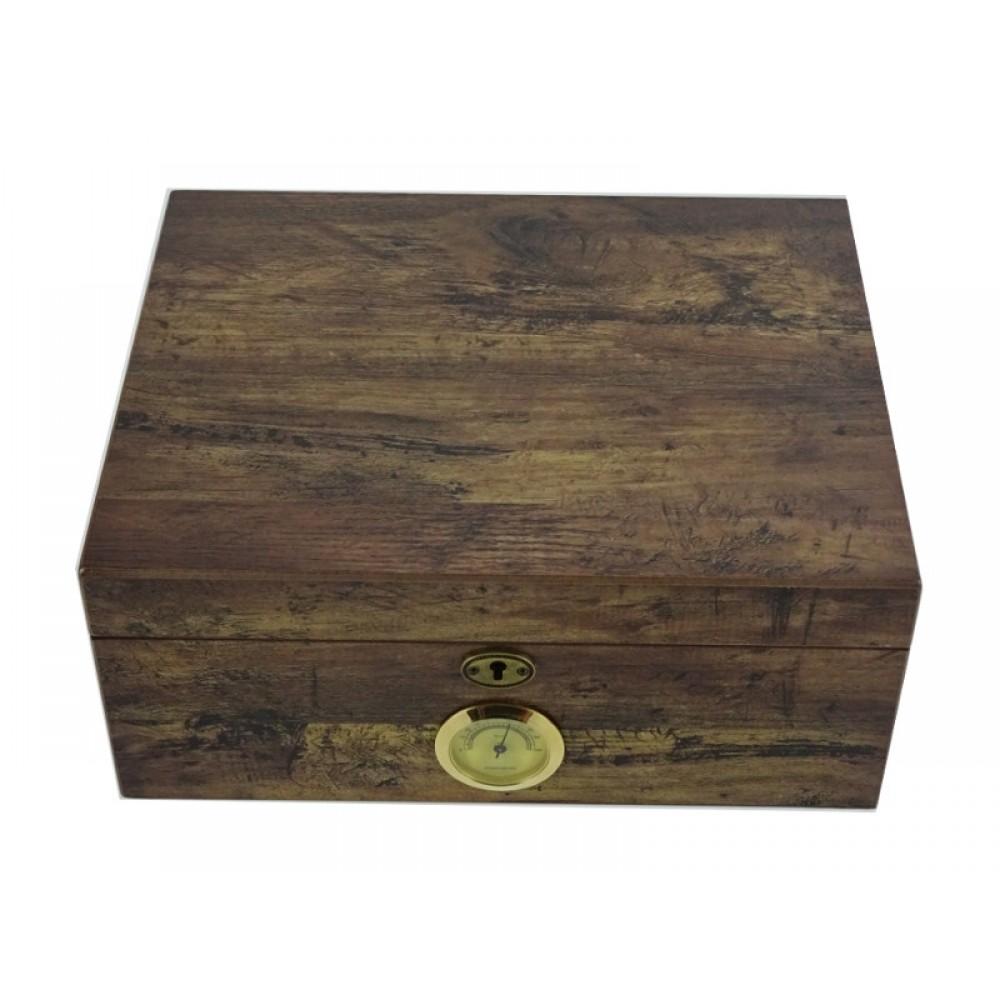Antik Humidor 50 szál szivar részére, cédrusfa szivar doboz, DUAL párásítóval, hygrométerrel