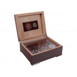 Humidor 40 szál szivar részére, vörösesbarna színű szivar tároló doboz, belső hygrométerrel, párásítóval + AJÁNDÉK szett