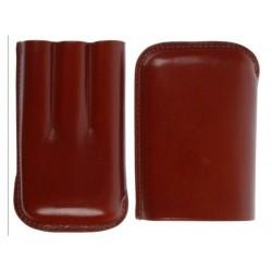 Szivartok - 3 szivar részére, barna bőr, Robusto (15x10x2,8cm)