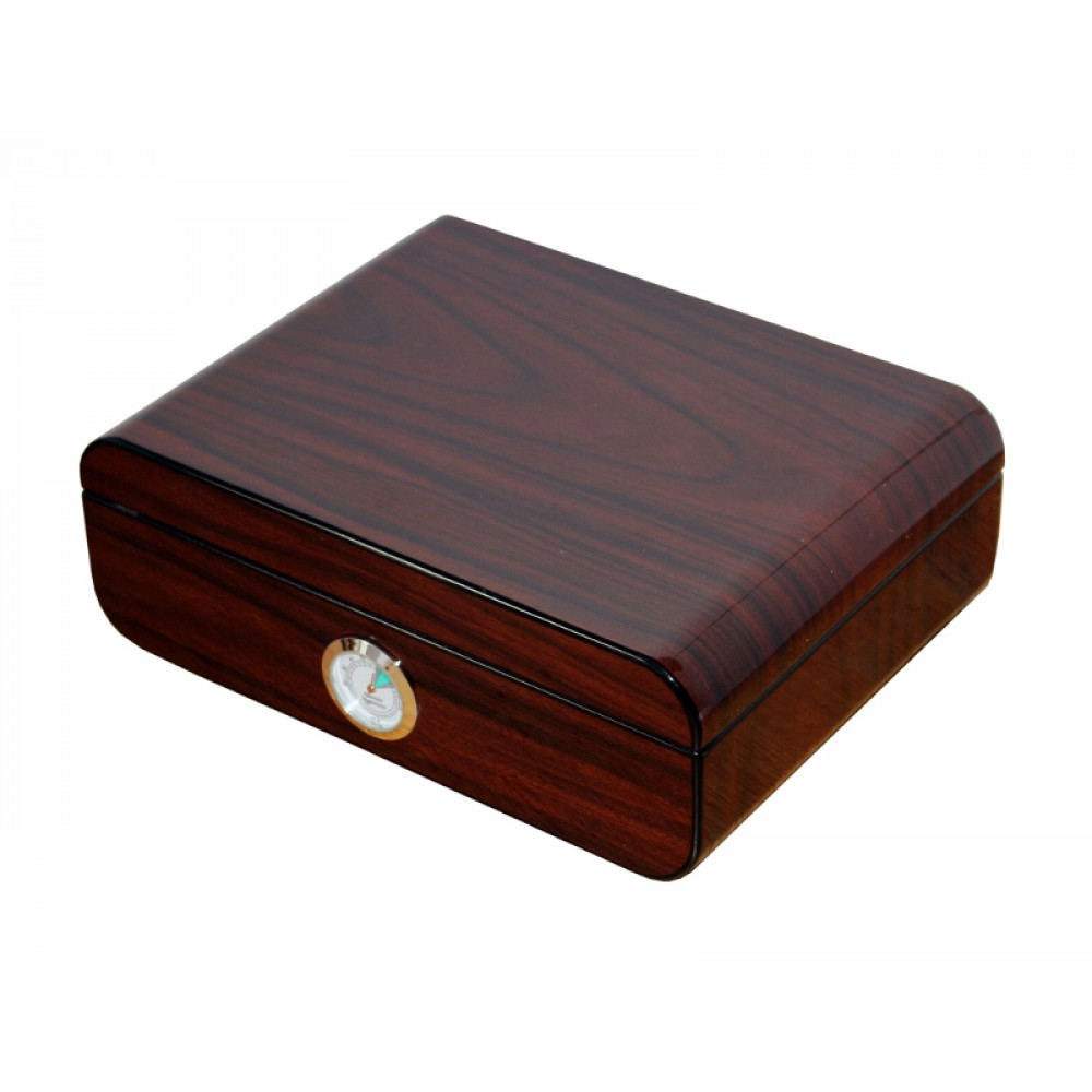 Humidor 50 szál szivar részére, cédrusfa szivar tároló doboz, párásítóval, külső hygrométerrel, barna-fekete, ovál - Achenty-Laguna!