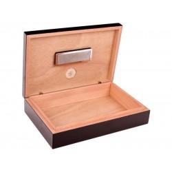 Utazó humidor - cédrusfa szivartartó doboz, párásítóval és külső hygrométerrel, fekete (26x17cm)