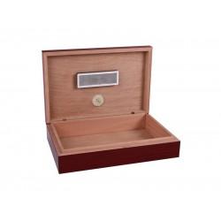 Humidor Apró utazó - cédrusfa szivartartó doboz, párásítóval és külső hygrométerrel, cseresznye (26x17cm)