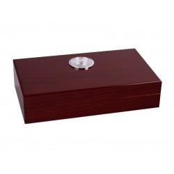 Humidor apró - cédrusfa szivartartó doboz, párásítóval és külső hygrométerrel, cseresznye (19x11cm)