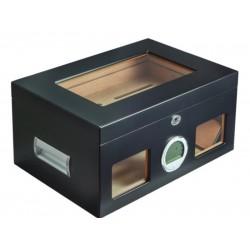 Gasztrohumidor 100 szál szivar részére, üveges szivar doboz, cédrusfa, digitális hygrométerrel és párásítóval - fekete