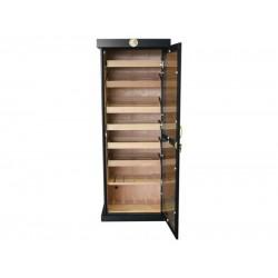 Óriási! 180 cm Fekete humidor szekrény 600 szál szivar tárolására, cédrusfa belső, hygrométer, üveg ajtóval, 7 db fiókkal