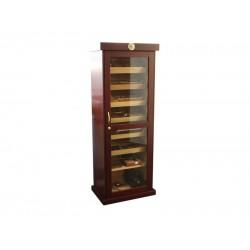 Óriási! 180 cm Barna humidor szekrény 600 szál szivar tárolására, cédrusfa belső, hygrométer, üveg ajtóval, 7 db fiókkal