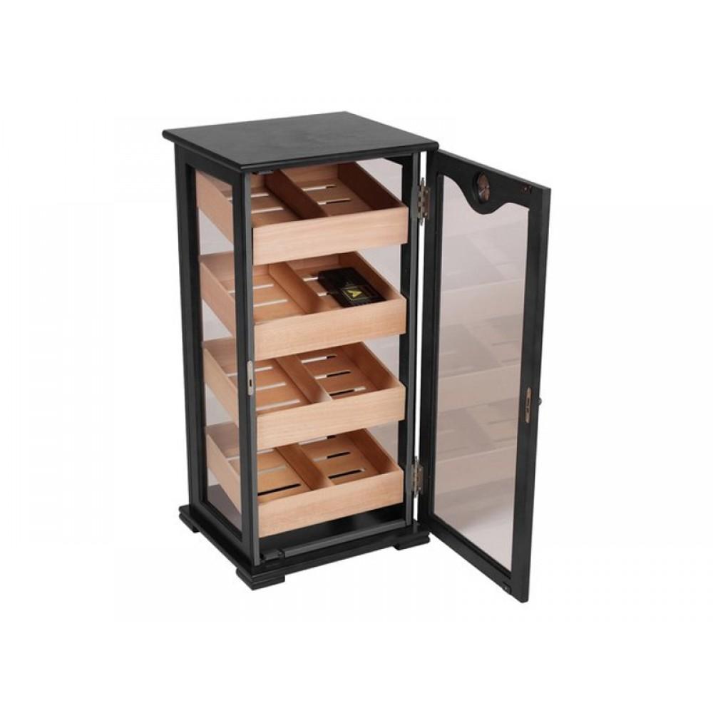 Humidorszekrény - szivar tároló, 150 szál szivarnak, cédrusfa belső, körbe üveges, hygrométer - fekete