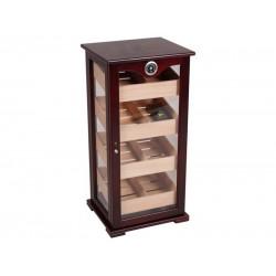Humidorszekrény - szivar tároló,150 szál szivarnak, cédrusfa belső, körbe üveges, hygrométer - barna