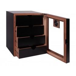 Humidor szekrény 80 szivar részére, fekete szivartartó szekrény, üveg ajtóval, külső hygrometerrel - 4 fókkal