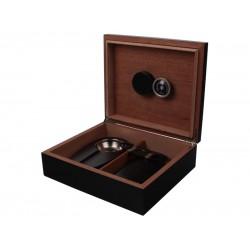 Humidor (kicsi) 30 szál szivar részére, cédrusfa szivar tároló doboz, párásítóval, hygrométerrel - fekete + AJÁNDÉK szett!