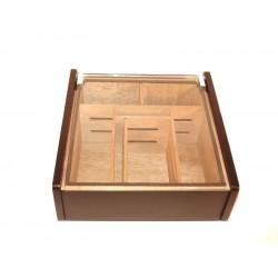 Hermoso humidor 80-100 szál szivarnak, cédrusfa szivartartó doboz, üvegtető, párásító - fekete lakkozott