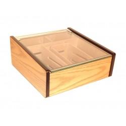 Hermoso humidor 80-100 szálas szivardoboz, cédrusfa belső, üvegtető, párásító - tölgyfa borítással