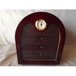 Humidor szekrény 80 szivar részére, félköríves, mahagóni szivar tároló, külső hygrometer, üveg ajtó