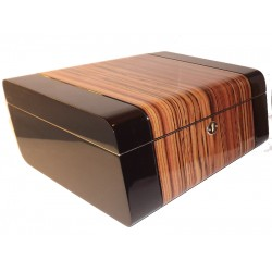 Humidor 50 szál szivar részére, cédrus belsővel, csíkos, rombusz alakú Passatore szivartartó doboz, párásítóval