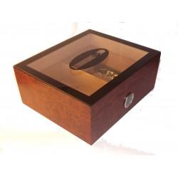 Humidor 50 szivar részére, üveg tetővel, szivar díszítéssel, barna szivartároló doboz, külső hygrometer