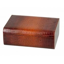 Humidor 50 szál szivar részére, bőrrel bevont, cédrusfa szivar doboz, párásítóval - krokodilbőr mintás