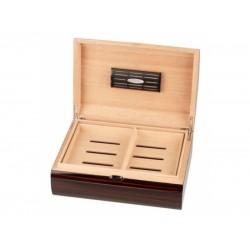 Humidor 50 szál szivar részére, cédrusfa szivar tároló doboz, párásítóval, ebony fa, íves - Passatore
