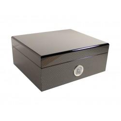 Humidor 30 szál szivar részére, cédrusfa szivartartó doboz, párásító és külső hygrometer - Carbon