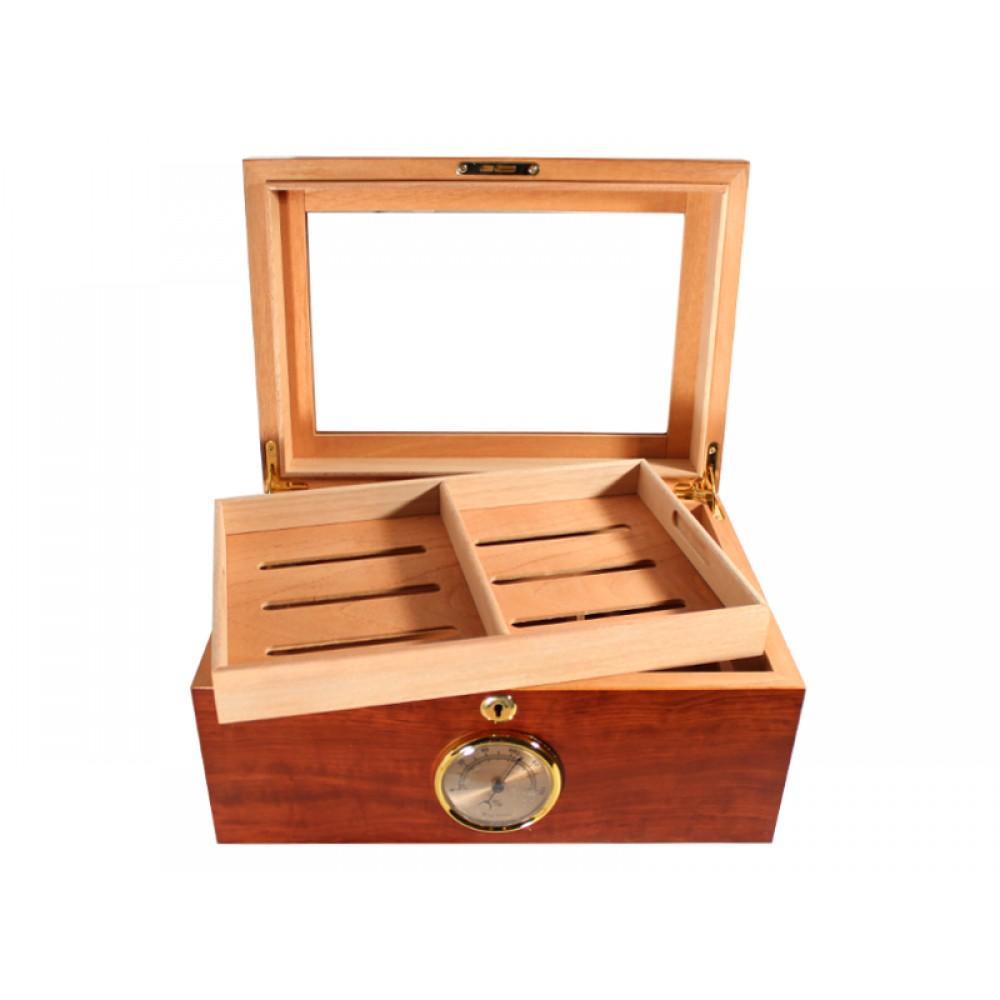 Gasztro humidor 80 szál szivarnak, üvegtetős szivartartó doboz, cédrusfa belső, párásító és hygrométer - bruyere