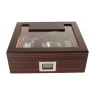 Humidor 30 szál szivar részére, üvegtetős cédrusfa szivar tároló doboz, párásítóval, hygrométerrel, barna-fekete + AJÁNDÉK szett