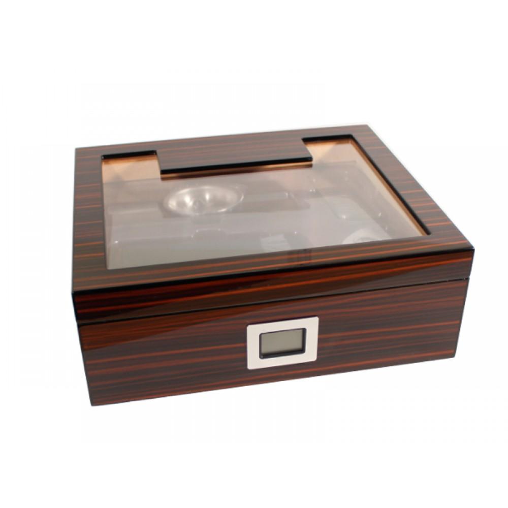 Humidor 50 szál szivar részére, üvegtetős cédrusfa szivar tároló doboz, párásítóval, hygrométerrel, barna-fekete + AJÁNDÉK szett