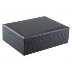 Humidor 30 szivar részére, spanyol cédrusfa szivar tároló doboz, fekete színű műbőr borítású, hygrométerrel, párásítóval + AJÁNDÉK szett!